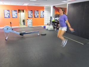 Monica getting after the Double Under.  Come learn how to attack Rowing WODs at the CrossFit Rowing Course June 8-9!