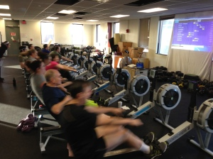 Competitors crushing the 2k at the Third Race of the Renegade Rowing League!