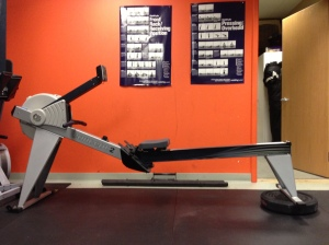1 45# Bumper under Erg, for this Rowing WOD you'll need 2!