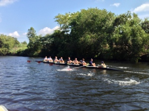 During head race season, crews warmup with a 5k row.  Then they race back.  Epic!
