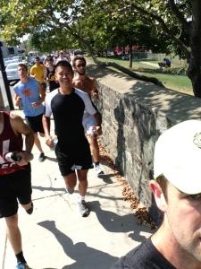 BC Men's Crew and I doing a Row, Run, WOD, Run, Row! Training as a team raises both intensity and fun!