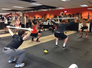 BC Men learning the Overhead Squat! Fight to keep that chest up w/ active shoulders!