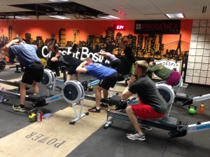 The RRC warming up on Monday night with Good Mornings and Goblet Squats. Who's ready for the Renegade Rowing League December 21st?