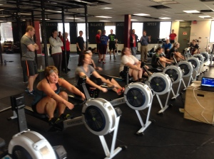 The Ladies from North Shore CrossFit's Rowing Club getting after it last Saturday at the Renegade Rowing League!