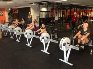 The women getting after there 2k at the Renegade Rowing League - next race is January 25th!