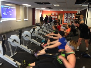 The Ladies getting after their last 2k at the Renegade Rowing League in January!