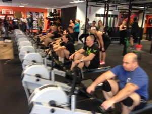 The Men getting pumped for CRASH-Bs at last months Renegade Rowing League!