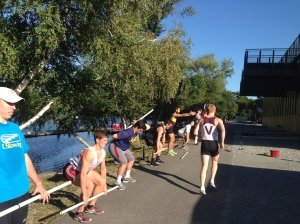 BC Men Review Deadlift and Squat form with PVC Pipes outside of CRI's Harry Parker Boathouse