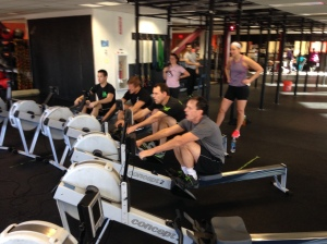 The Men attacking their 2k in Heat 2 of the Renegade Rowing League on Saturday!