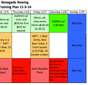 Today's programming from The Renegade Rowing Training Plan for the week of 11/3/14