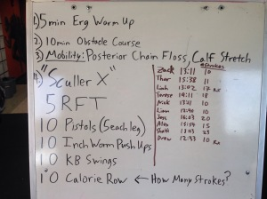 Results from Sculler X last week.