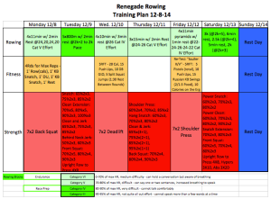 Snapshot of the Renegade Rowing Training Plan for the week of 12-8-14