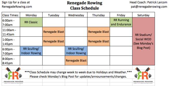 Renegade Rowing Class Schedule