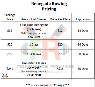 Renegade Rowing Pricing