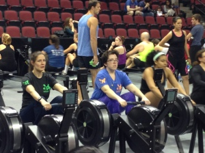 Lauryn and Terese getting in their warm up at CRASH-B 2015