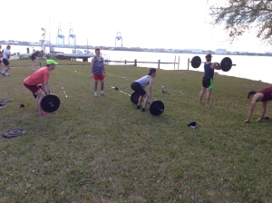 BC Men working on their Deadlifts and Cleans in Jacksonville, FL during Spring Training.