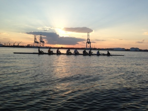Beautiful Sunset rowing in Jacksonville.